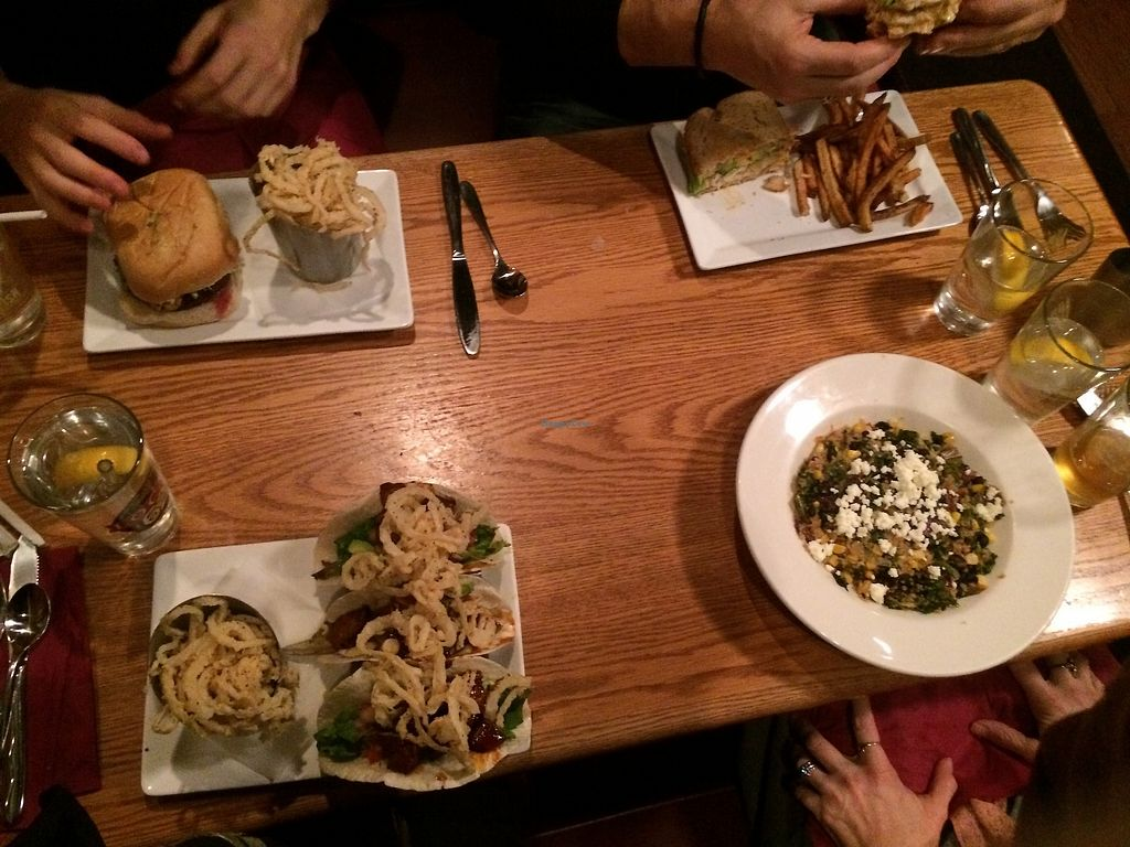 """Photo of The Wildflower Cafe and Crooked Rooster Brewpub  by <a href=""""/members/profile/wrenands"""">wrenands</a> <br/>entrees - spot those legendary tacos with onion rings <br/> March 22, 2018  - <a href='/contact/abuse/image/10958/374155'>Report</a>"""