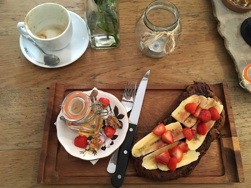 """Photo of Sand's Cakes and Bubbles  by <a href=""""/members/profile/Jjse13"""">Jjse13</a> <br/>Vegan french toast  <br/> January 17, 2018  - <a href='/contact/abuse/image/109600/347706'>Report</a>"""