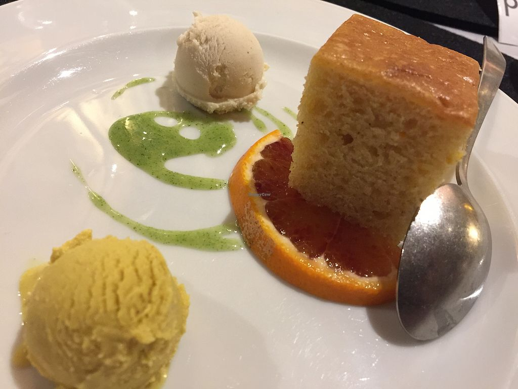 """Photo of V-mOnd  by <a href=""""/members/profile/MikeMcG"""">MikeMcG</a> <br/>Orange sponge cake with two kinds of sorbets <br/> February 13, 2018  - <a href='/contact/abuse/image/109608/358930'>Report</a>"""