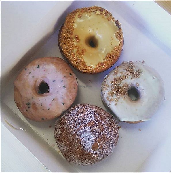 """Photo of Dough Society  by <a href=""""/members/profile/kingoftheducks"""">kingoftheducks</a> <br/>Four delicious Dough Society donuts <br/> January 29, 2018  - <a href='/contact/abuse/image/109611/352319'>Report</a>"""
