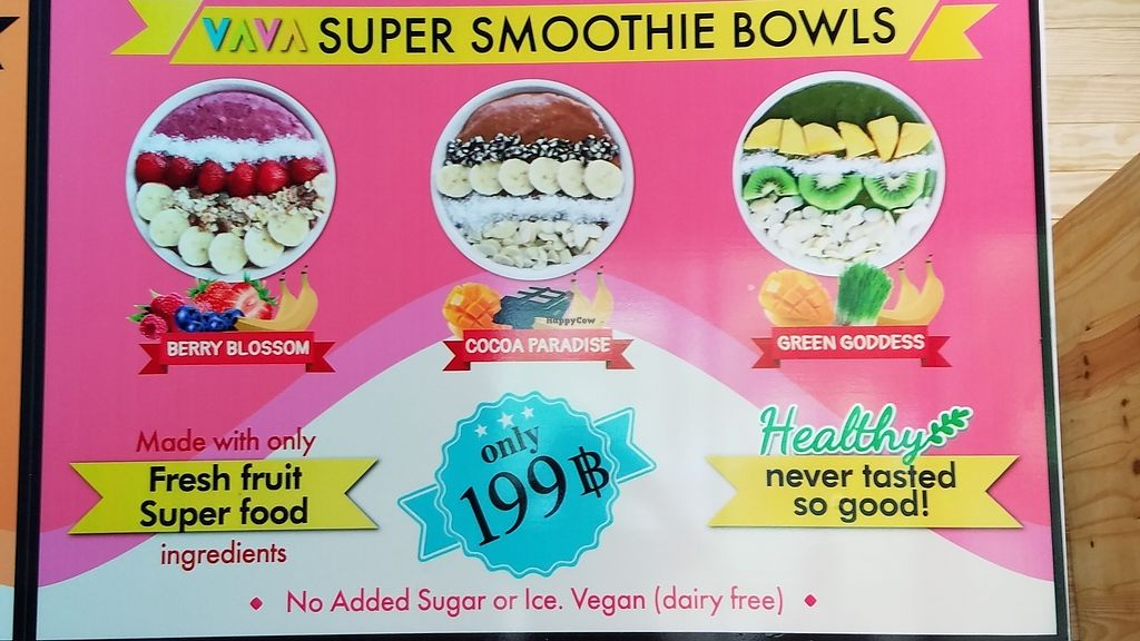 "Photo of VAVA Frozen Yogurt - Airport  by <a href=""/members/profile/eric"">eric</a> <br/>Smoothie bowl menu signage <br/> January 16, 2018  - <a href='/contact/abuse/image/109621/347121'>Report</a>"