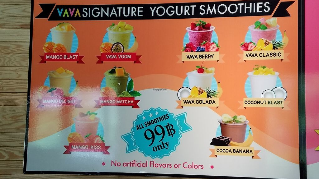 "Photo of VAVA Frozen Yogurt - Airport  by <a href=""/members/profile/eric"">eric</a> <br/>Smoothie menu signage <br/> January 16, 2018  - <a href='/contact/abuse/image/109621/347122'>Report</a>"