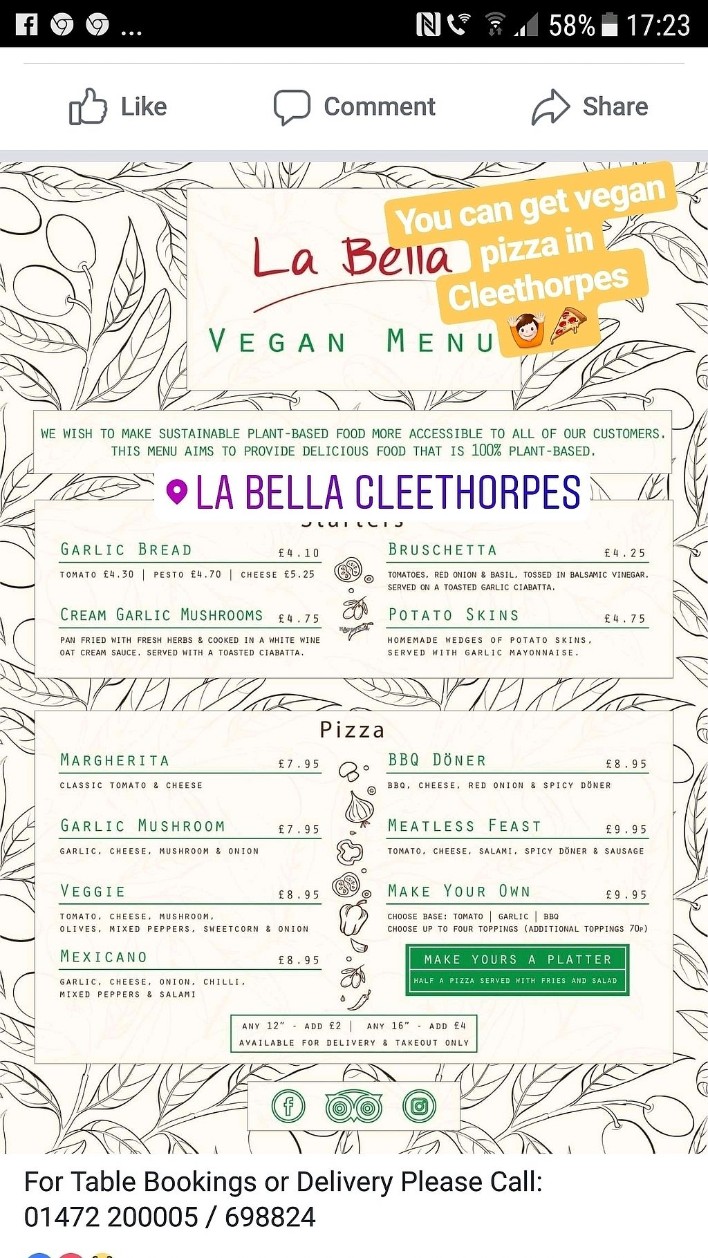 """Photo of La Bella  by <a href=""""/members/profile/KarlAyers"""">KarlAyers</a> <br/>vegan menu <br/> February 19, 2018  - <a href='/contact/abuse/image/109624/361104'>Report</a>"""