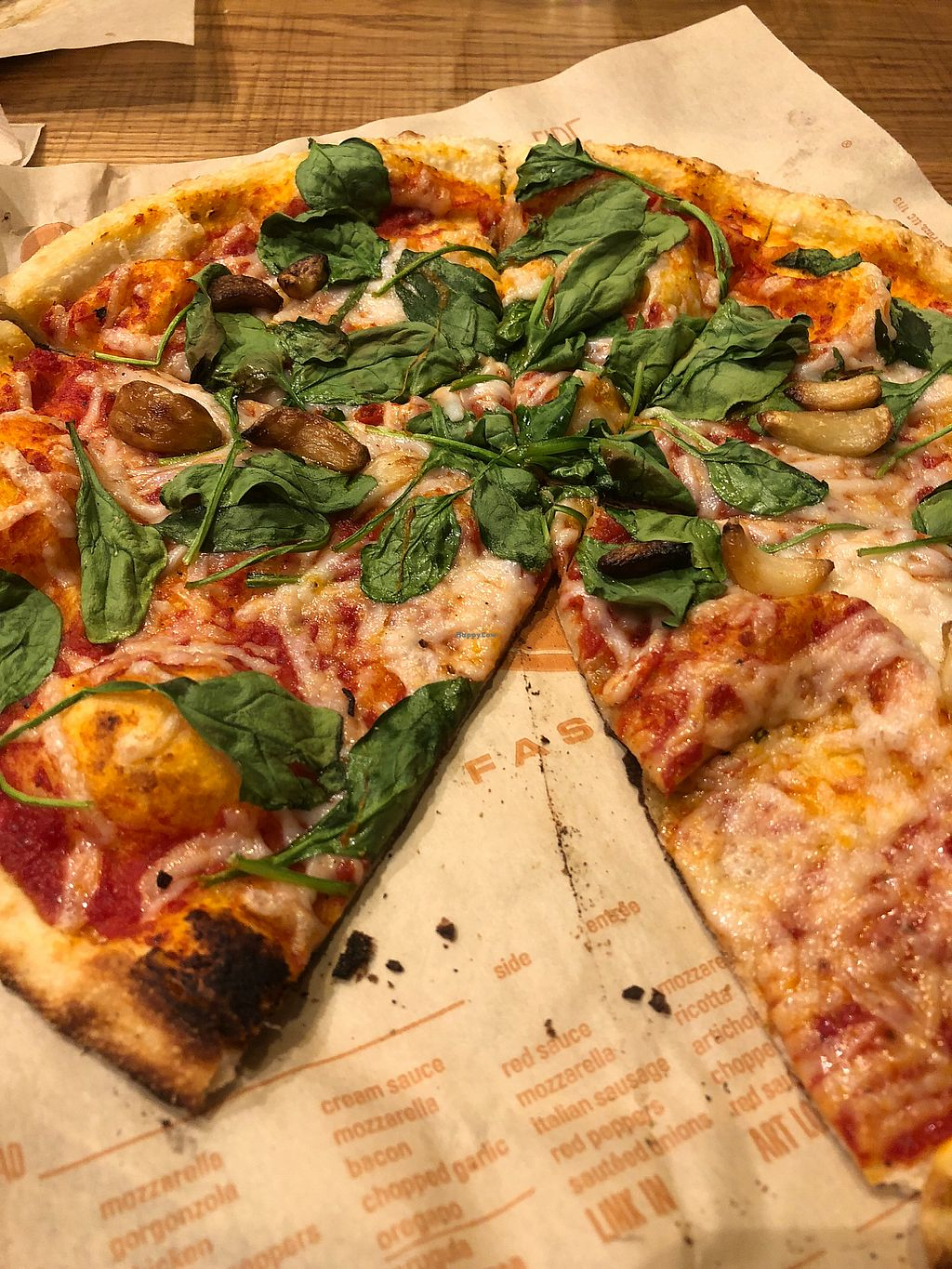 "Photo of Blaze Pizza - Town Center  by <a href=""/members/profile/BaileyKnighton"">BaileyKnighton</a> <br/>Vegan cheese w/ spinach and roasted garlic  <br/> January 17, 2018  - <a href='/contact/abuse/image/109659/347380'>Report</a>"