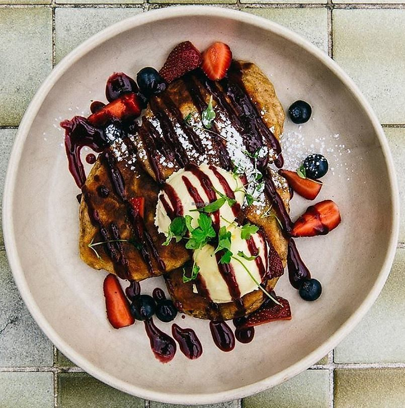"Photo of The Resident Cafe  by <a href=""/members/profile/christinargh"">christinargh</a> <br/>Vegetarian Banana Hotcakes - banana, berry coulis, mixed berries, chia and passionfruit mascarpone <br/> January 22, 2018  - <a href='/contact/abuse/image/109692/349613'>Report</a>"