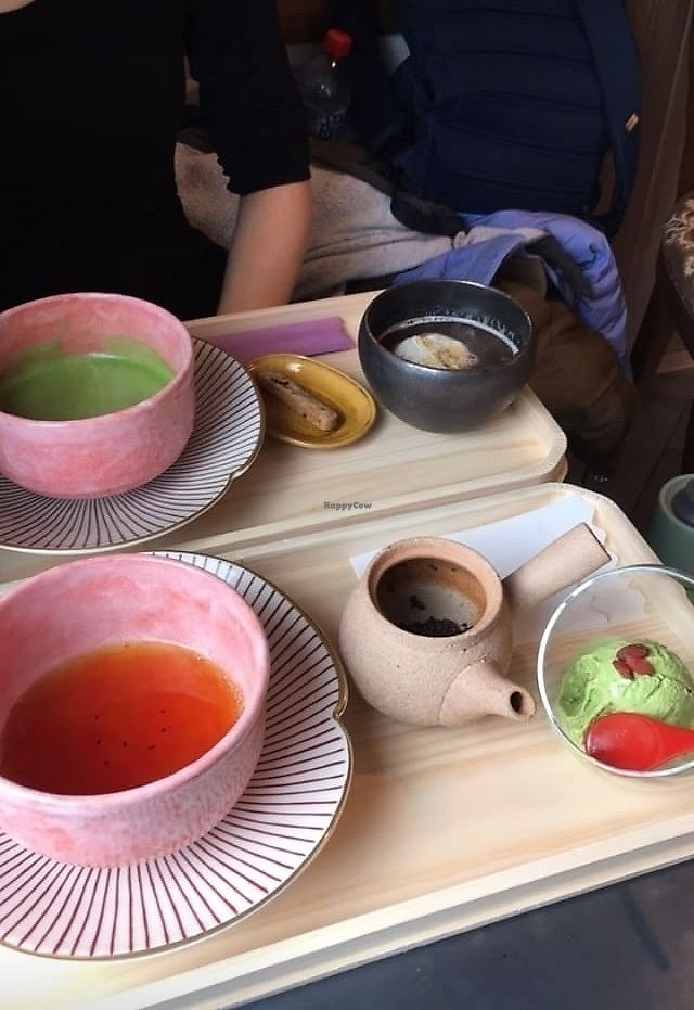 """Photo of Onwa  by <a href=""""/members/profile/Stella774"""">Stella774</a> <br/>Matcha tea with biscuits and a red bean soup up the top, black Japanese tea with vegan gelato at the bottom.  <br/> January 17, 2018  - <a href='/contact/abuse/image/109696/347469'>Report</a>"""