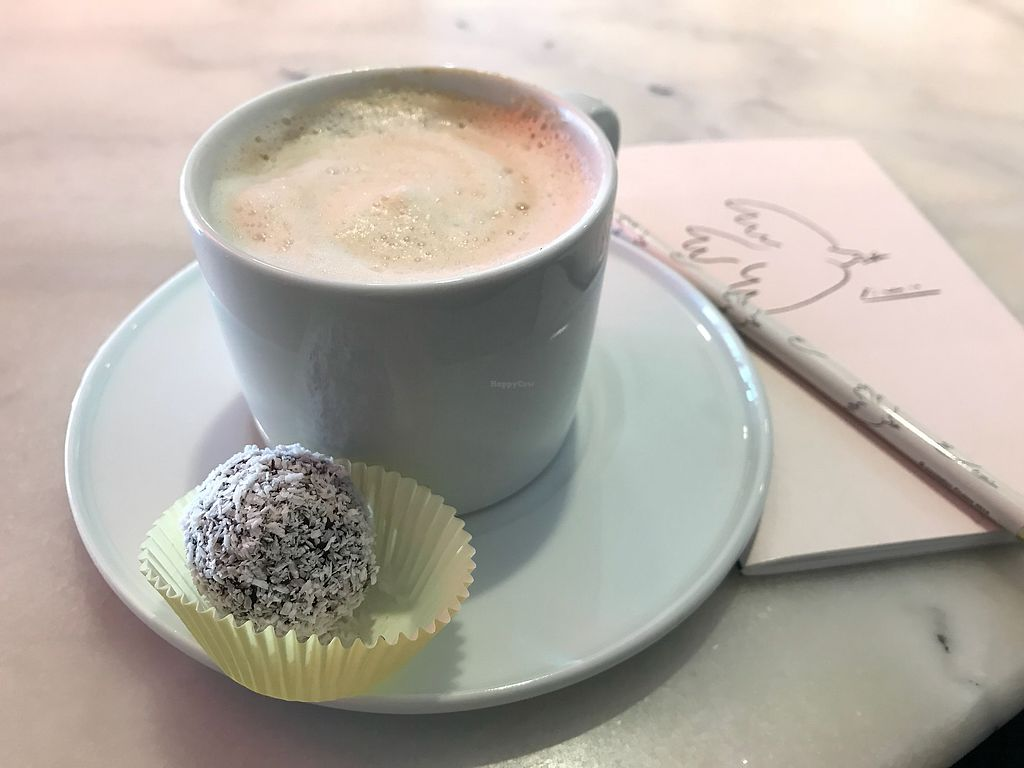 """Photo of Acai Sisters  by <a href=""""/members/profile/veggiejessonthego"""">veggiejessonthego</a> <br/>almond cappuccino with a powerball  <br/> March 23, 2018  - <a href='/contact/abuse/image/109708/374831'>Report</a>"""
