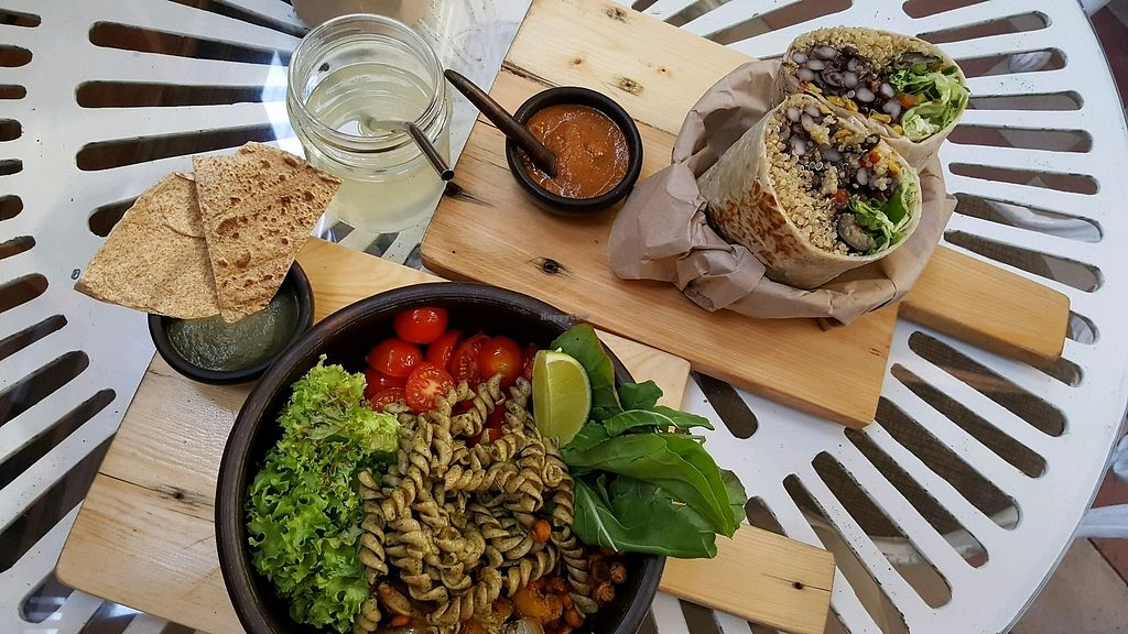"""Photo of Sapiens  by <a href=""""/members/profile/planetlemon"""">planetlemon</a> <br/>Mediterranean buddha bowl with pesto pasta, roasted veggies, tomatoes, spiced corn, greens with an olive sauce <br/> March 29, 2018  - <a href='/contact/abuse/image/109799/377982'>Report</a>"""