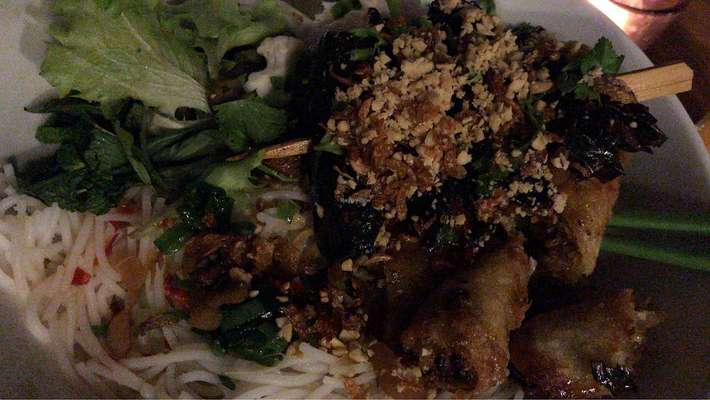 """Photo of Le'ger  by <a href=""""/members/profile/minhkha"""">minhkha</a> <br/>rice noodles with vegan springrolls and tofu and mushrooms in betel leaves with salad and herbs <br/> February 2, 2018  - <a href='/contact/abuse/image/109805/354004'>Report</a>"""