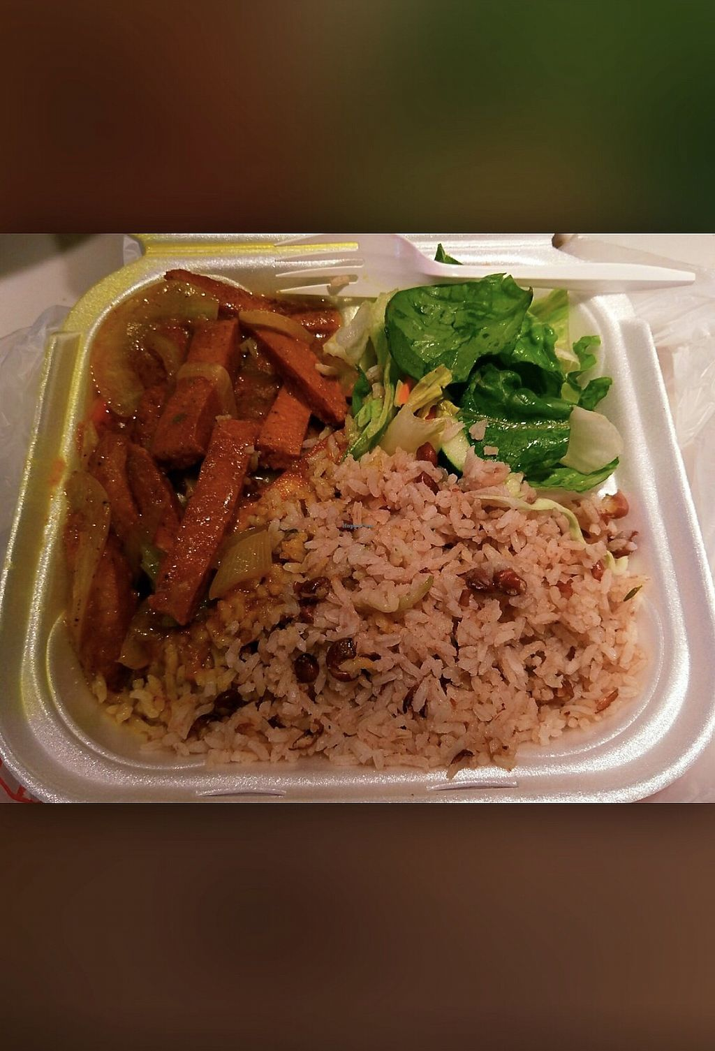 "Photo of Coconutz Fusion Cafe  by <a href=""/members/profile/AlexGibson"">AlexGibson</a> <br/>Vegan curry ""chicken"" coconut rice and peas and salad. Amazing! <br/> January 29, 2018  - <a href='/contact/abuse/image/109874/352420'>Report</a>"