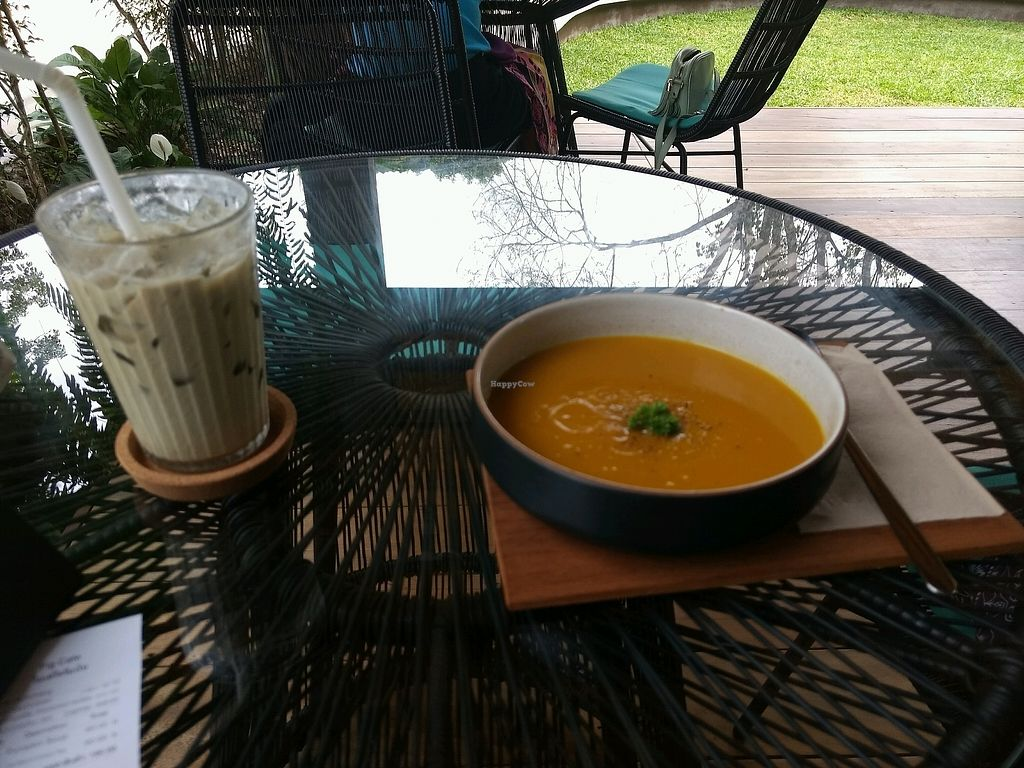 """Photo of Fig Cafe  by <a href=""""/members/profile/Oliviarh15"""">Oliviarh15</a> <br/>Walnut milk green tea latte and pumpkin soup <br/> January 29, 2018  - <a href='/contact/abuse/image/109941/352274'>Report</a>"""