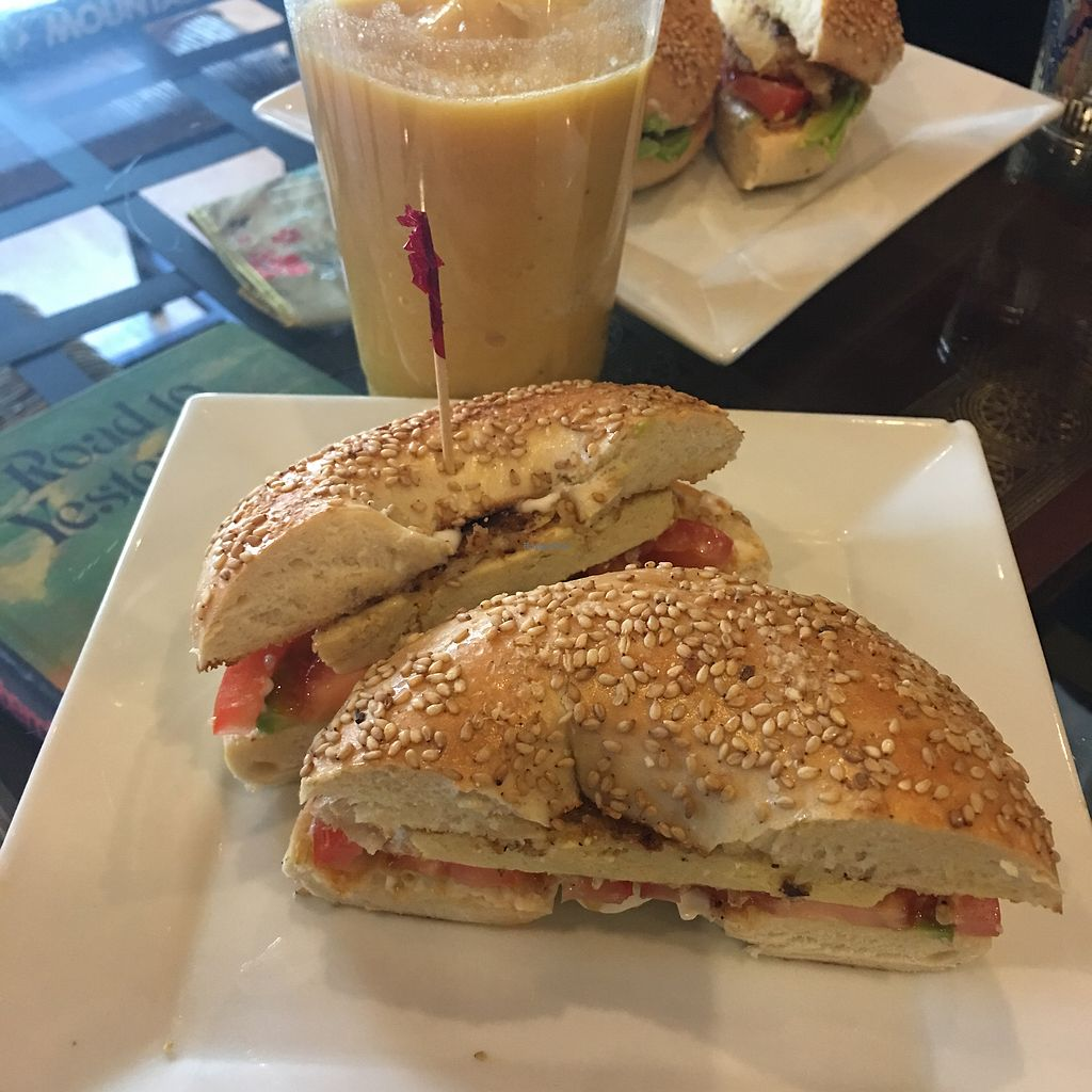 """Photo of SaVeg Cafe  by <a href=""""/members/profile/gawdess"""">gawdess</a> <br/>Breakfast bagel <br/> April 5, 2018  - <a href='/contact/abuse/image/109946/381232'>Report</a>"""