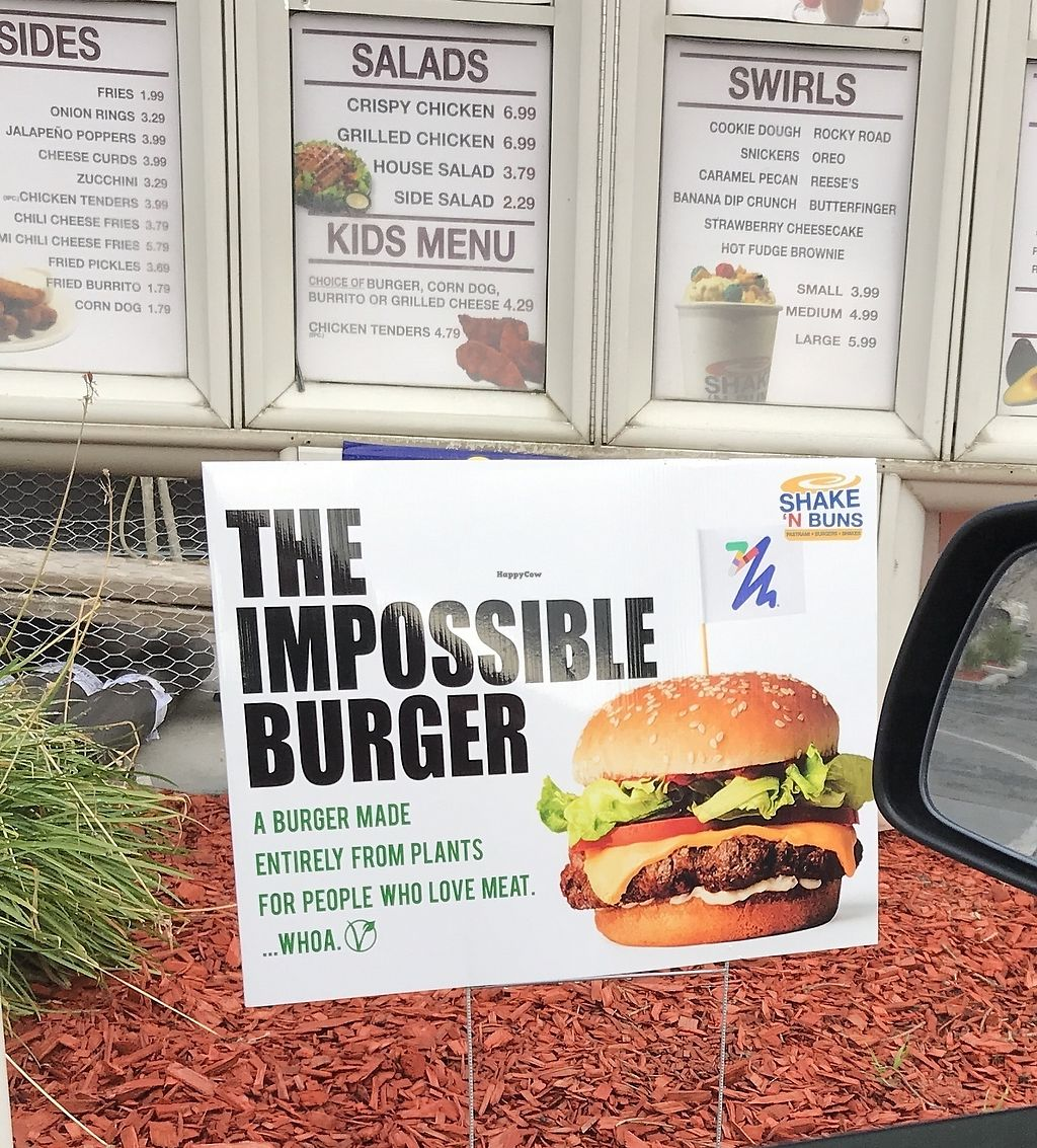 "Photo of Shake 'N Buns  by <a href=""/members/profile/glassesgirl79"">glassesgirl79</a> <br/>Impossible burger advertised in Shake N Buns drive thru <br/> January 21, 2018  - <a href='/contact/abuse/image/109956/349096'>Report</a>"