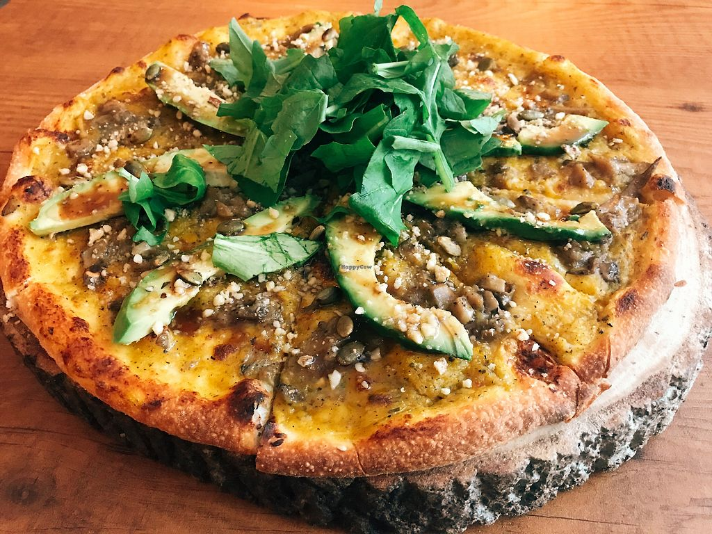 "Photo of Zucca Pizza & Cafe  by <a href=""/members/profile/veganoteacher"">veganoteacher</a> <br/>Vegan Pizza with avocado and pumpkin sauce.  <br/> January 21, 2018  - <a href='/contact/abuse/image/109959/349303'>Report</a>"