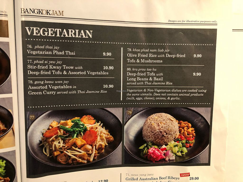 """Photo of Bangkok Jam  by <a href=""""/members/profile/CherylQuincy"""">CherylQuincy</a> <br/>Vegetarian menu <br/> March 12, 2018  - <a href='/contact/abuse/image/109993/369666'>Report</a>"""