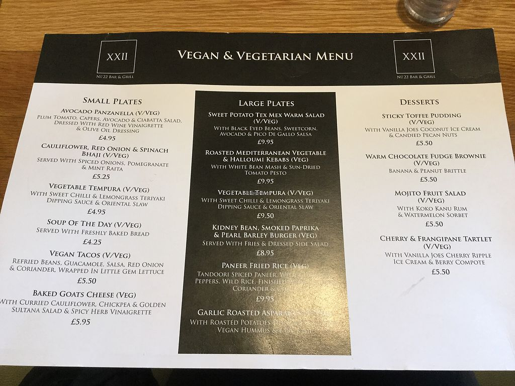 "Photo of No. 22 Bar and Grill  by <a href=""/members/profile/glasgow_vegan"">glasgow_vegan</a> <br/>Vegan and vegetarian menu <br/> April 4, 2018  - <a href='/contact/abuse/image/110109/380507'>Report</a>"