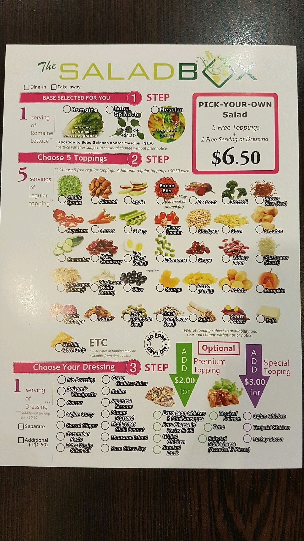 "Photo of The SaladBox - Bugis MRT   by <a href=""/members/profile/matostars"">matostars</a> <br/>Menu page 1 <br/> March 17, 2018  - <a href='/contact/abuse/image/110210/371796'>Report</a>"