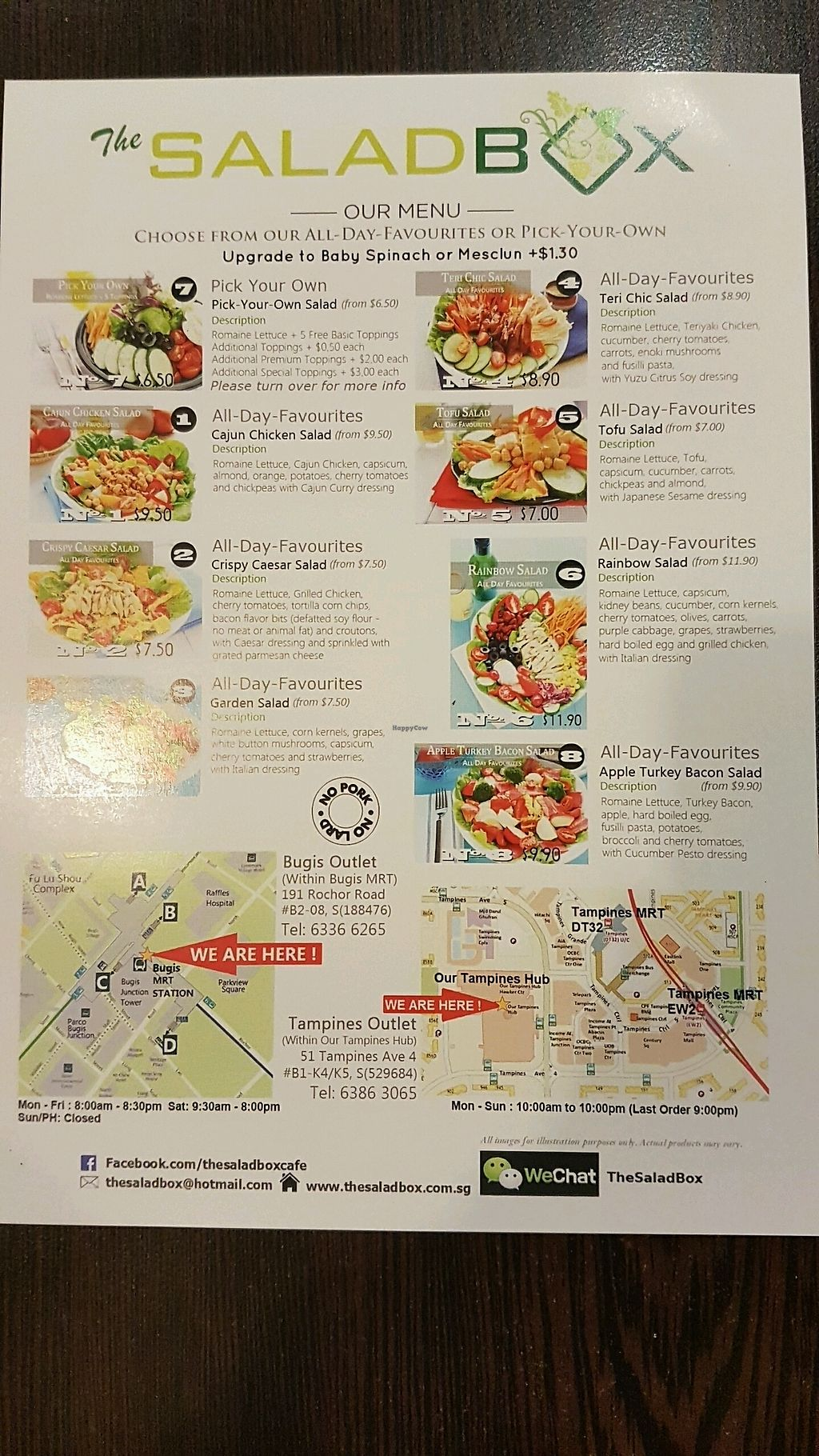 "Photo of The SaladBox - Bugis MRT   by <a href=""/members/profile/matostars"">matostars</a> <br/>Menu page 2 <br/> March 17, 2018  - <a href='/contact/abuse/image/110210/371797'>Report</a>"