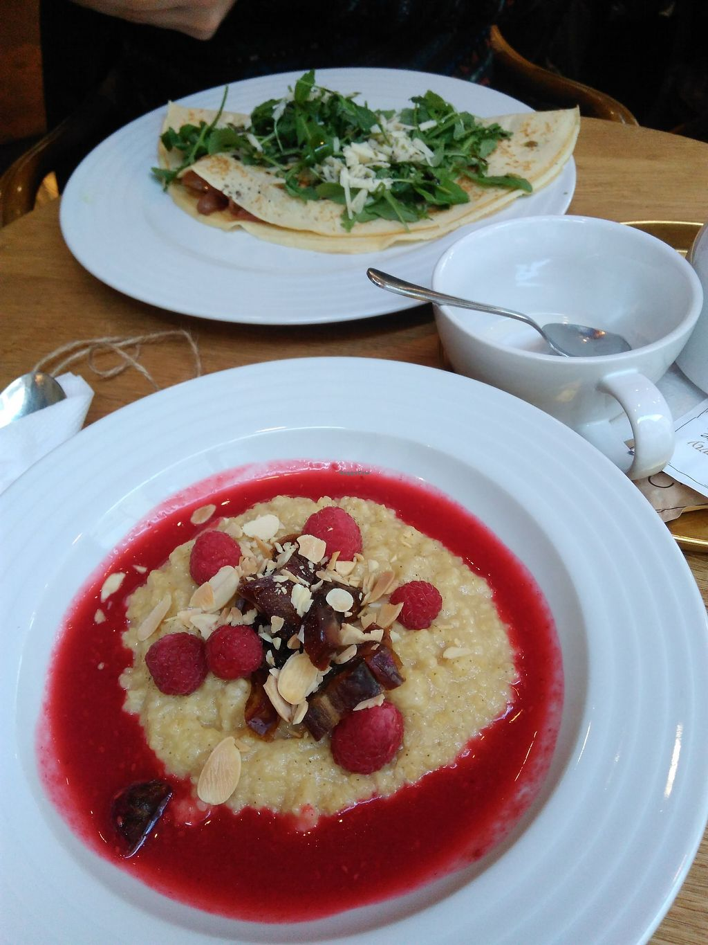 "Photo of Mondieu - Staré Mesto  by <a href=""/members/profile/veronikapaz"">veronikapaz</a> <br/>vegan millet porridge (boyfriend's crepes in the back are not vegan, nor vegetarian) <br/> February 7, 2018  - <a href='/contact/abuse/image/110264/356135'>Report</a>"