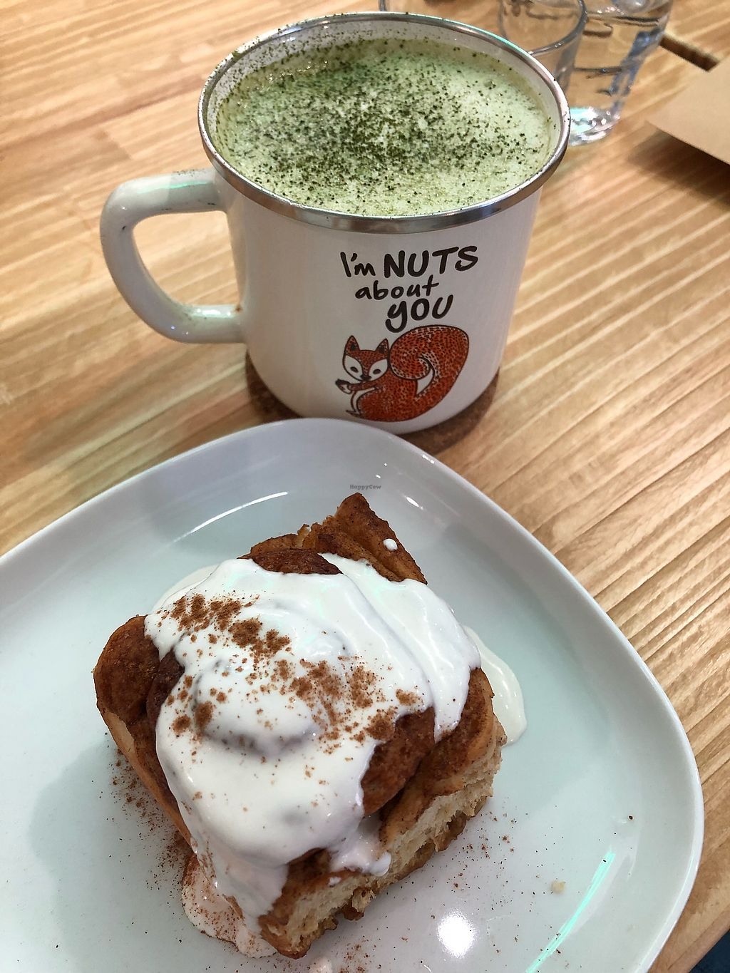 """Photo of Ooh Cha Cha Tech  by <a href=""""/members/profile/HaileyPoLa"""">HaileyPoLa</a> <br/>Cinnamon roll and matcha latte  <br/> March 18, 2018  - <a href='/contact/abuse/image/110310/372286'>Report</a>"""