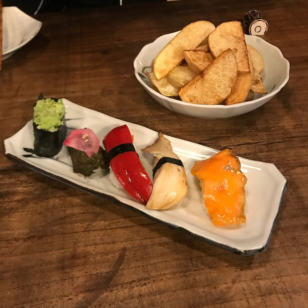 """Photo of Itadakizen Kyoto  by <a href=""""/members/profile/kat.ross"""">kat.ross</a> <br/>Organic veg sushi and fried potato wedges <br/> February 10, 2018  - <a href='/contact/abuse/image/110323/357589'>Report</a>"""