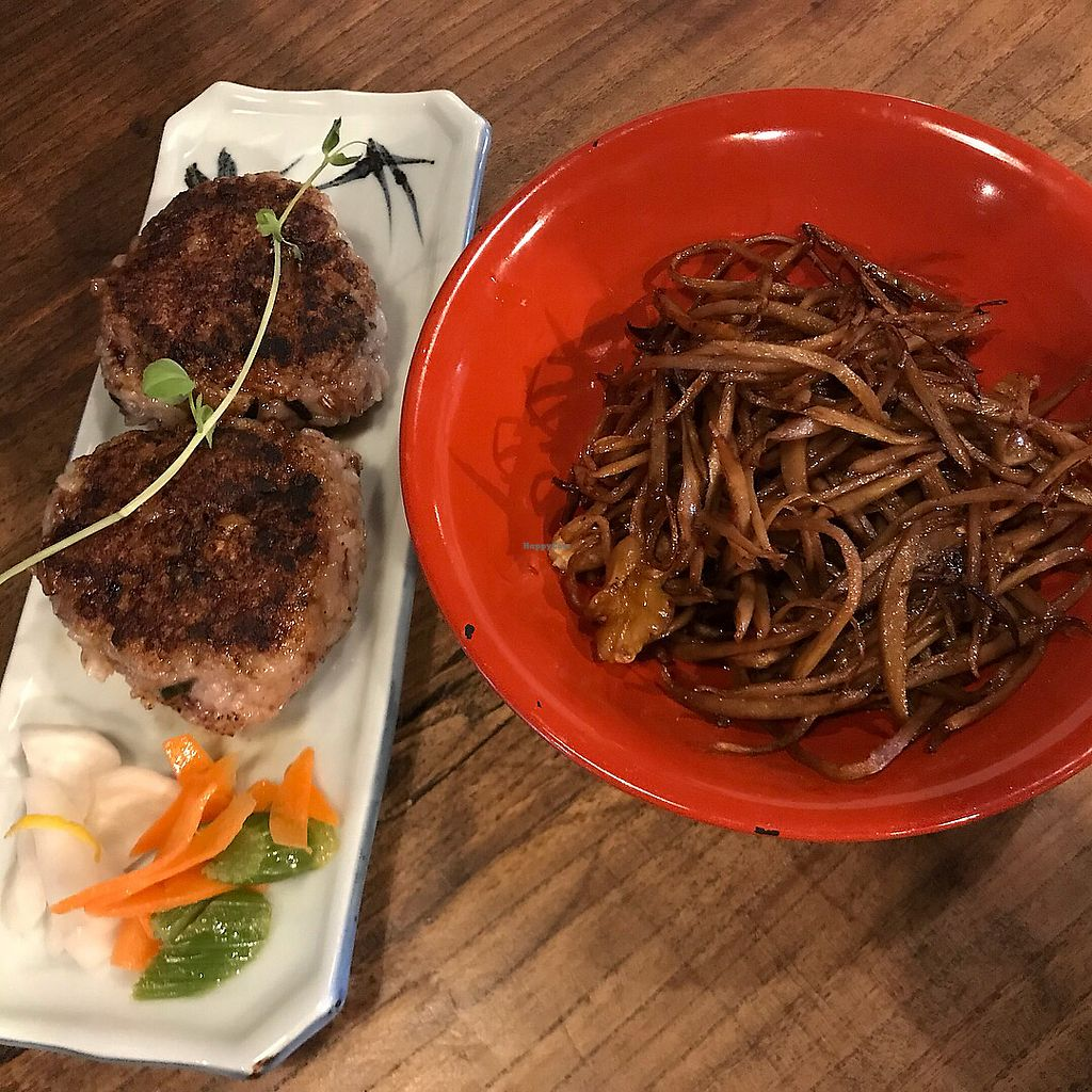 """Photo of Itadakizen Kyoto  by <a href=""""/members/profile/kat.ross"""">kat.ross</a> <br/>Yakionigiri and burdock salad  <br/> February 10, 2018  - <a href='/contact/abuse/image/110323/357590'>Report</a>"""