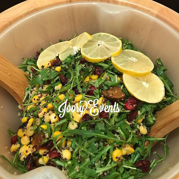 "Photo of CLOSED: JooryEvents  by <a href=""/members/profile/NoorAdel"">NoorAdel</a> <br/>Quinoa, sweet potato, arugula, corn, & cranberry salad  <br/> January 24, 2018  - <a href='/contact/abuse/image/110325/350570'>Report</a>"