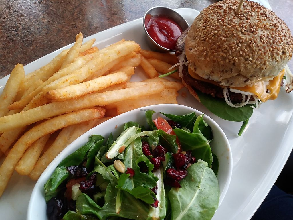 """Photo of Ek's Grill  by <a href=""""/members/profile/LolaMeow"""">LolaMeow</a> <br/>Monster burger with fries and salad <br/> February 26, 2018  - <a href='/contact/abuse/image/110384/364215'>Report</a>"""