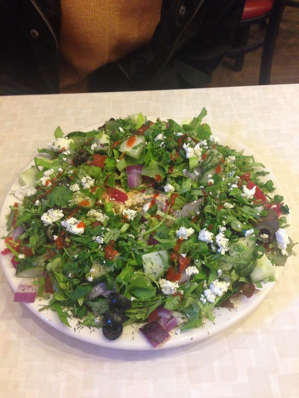 """Photo of Red Cup Coffee House  by <a href=""""/members/profile/MollyJD17"""">MollyJD17</a> <br/>Mediterranean Salad <br/> December 29, 2017  - <a href='/contact/abuse/image/11038/340295'>Report</a>"""
