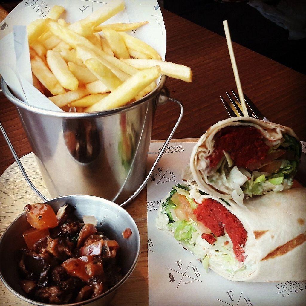 """Photo of Forum Bar  by <a href=""""/members/profile/Veganolive1"""">Veganolive1</a> <br/>Beetroot wrap & fries <br/> January 30, 2018  - <a href='/contact/abuse/image/110390/352659'>Report</a>"""