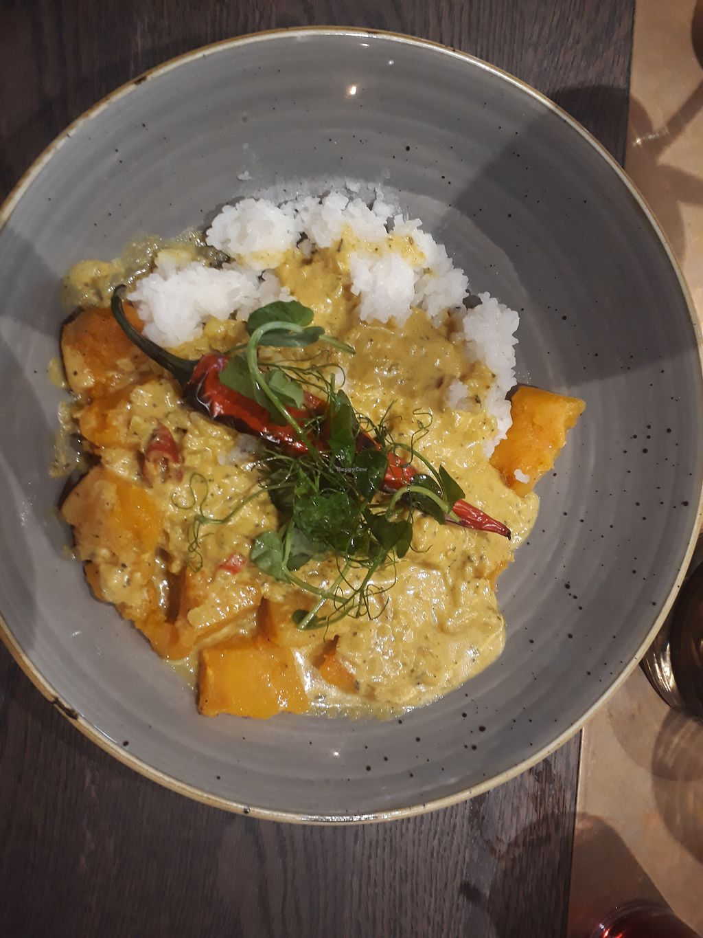 """Photo of The Arkle Manor  by <a href=""""/members/profile/LauraStone90"""">LauraStone90</a> <br/>Spiced Coconut Curry with Ras el hanout roasted squash & sweet potato, sticky jasmine rice, and a scorched red chilli <br/> April 22, 2018  - <a href='/contact/abuse/image/110430/389268'>Report</a>"""