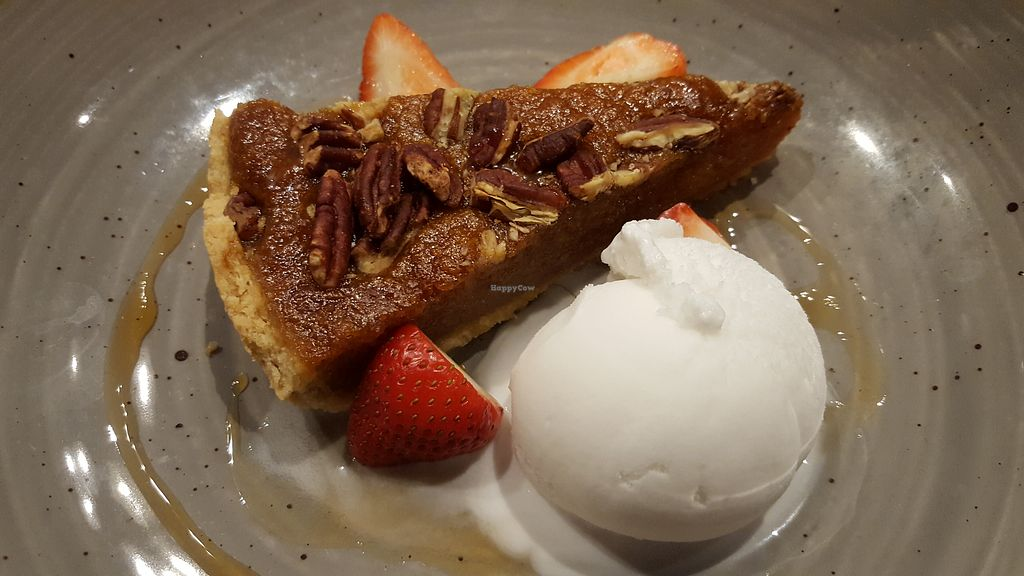 """Photo of The Arkle Manor  by <a href=""""/members/profile/VeganAnnaS"""">VeganAnnaS</a> <br/>Treacle tart with ice cream from the new(ish) vegan menu <br/> April 29, 2018  - <a href='/contact/abuse/image/110430/392566'>Report</a>"""