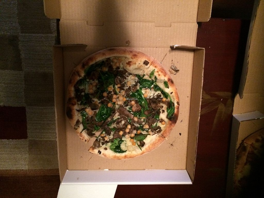 """Photo of Olio  by <a href=""""/members/profile/marturey"""">marturey</a> <br/>This was a create your own small pizza: olive oil base, chickpeas, mushrooms, and spinach.  The cheese was the cashew based vegan mozzarella.    <br/> March 31, 2018  - <a href='/contact/abuse/image/110443/378814'>Report</a>"""