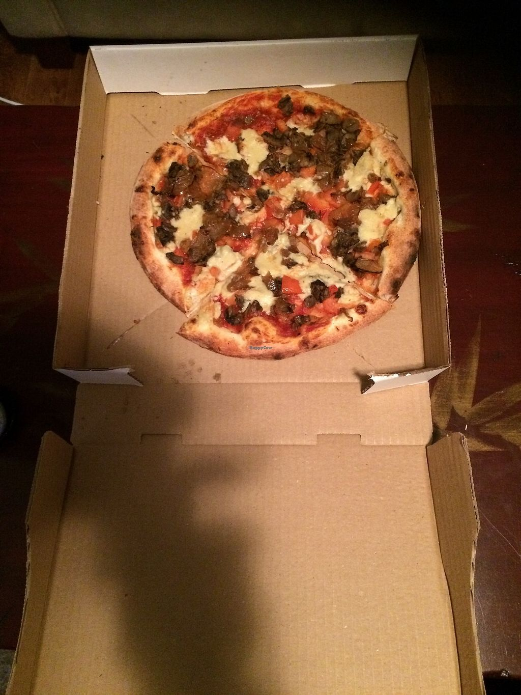 """Photo of Olio  by <a href=""""/members/profile/marturey"""">marturey</a> <br/>Another create your own pizza from Olio.  This one had tomato sauce with the cashew based mozzarella cheese.  mushrooms, diced tomatoes, and caramelized onions.   <br/> March 31, 2018  - <a href='/contact/abuse/image/110443/378816'>Report</a>"""
