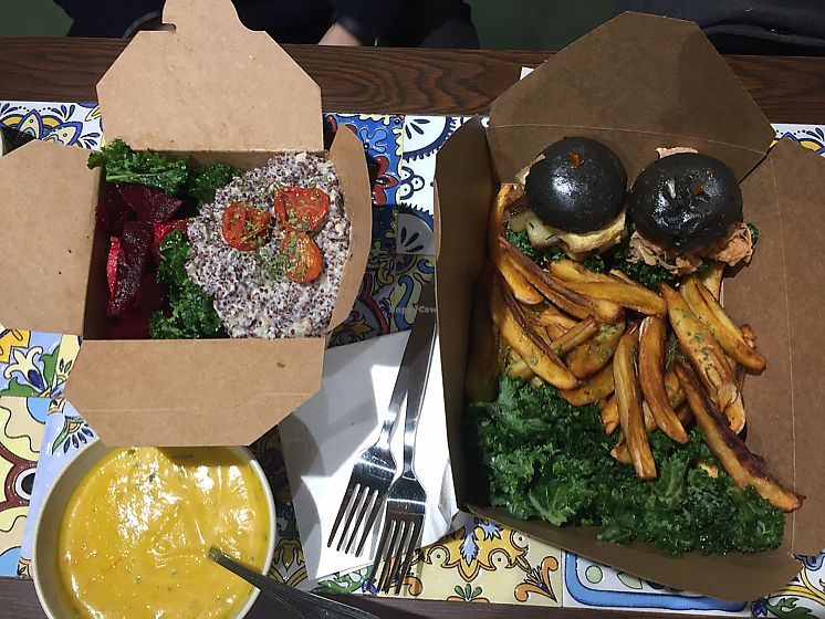 "Photo of Kale  by <a href=""/members/profile/Ashni"">Ashni</a> <br/>truffle quinoa risotto, sliders, plaintain fries, salad, soup  <br/> February 4, 2018  - <a href='/contact/abuse/image/110466/354894'>Report</a>"