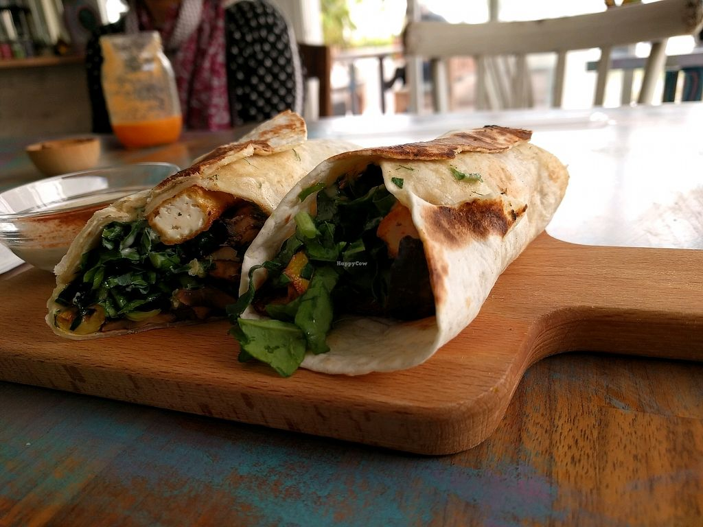 """Photo of BE Cafe  by <a href=""""/members/profile/TobiasLeenaert"""">TobiasLeenaert</a> <br/>tofu wrap <br/> April 12, 2018  - <a href='/contact/abuse/image/110468/384487'>Report</a>"""