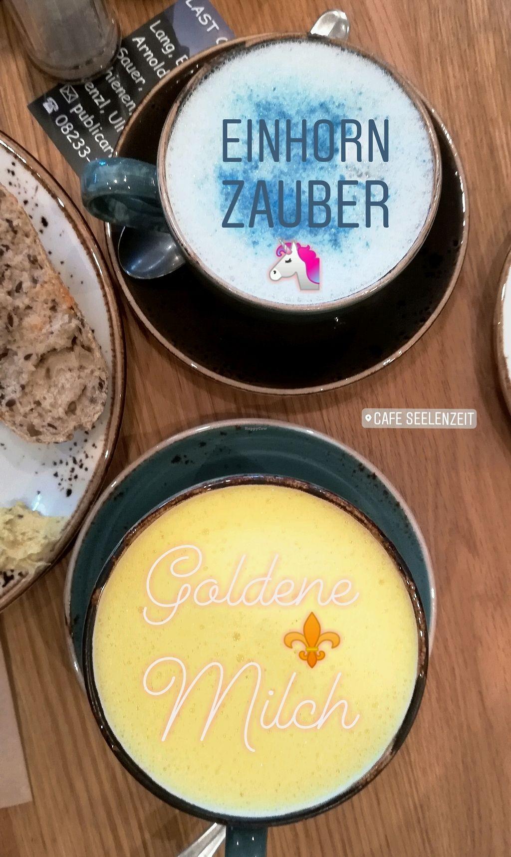 """Photo of Cafe Seelenzeit Genuss fur Korper und Geist  by <a href=""""/members/profile/SophieLichtenstern"""">SophieLichtenstern</a> <br/>Einhorn Zauber (mit Spirulina) und Goldene Milch  <br/> February 21, 2018  - <a href='/contact/abuse/image/110500/361956'>Report</a>"""