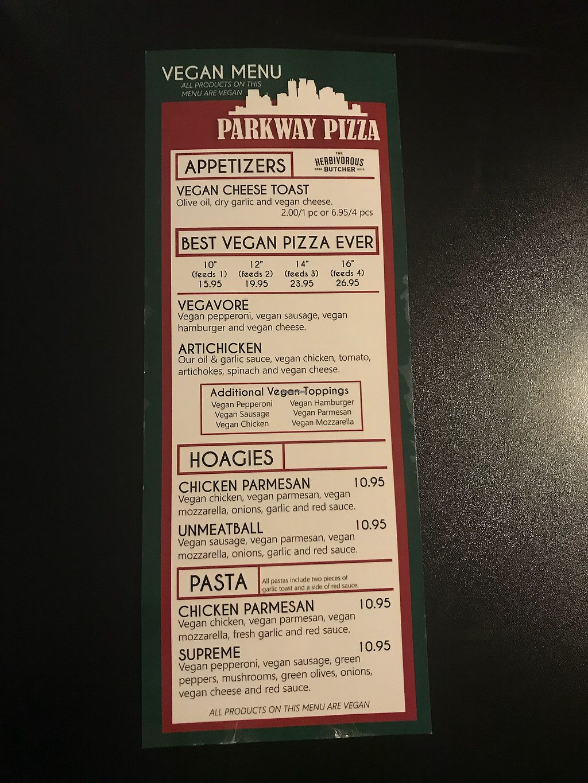 "Photo of Parkway Pizza - NE  by <a href=""/members/profile/KarenTatur"">KarenTatur</a> <br/>Vegan Menu! <br/> March 12, 2018  - <a href='/contact/abuse/image/110507/369731'>Report</a>"