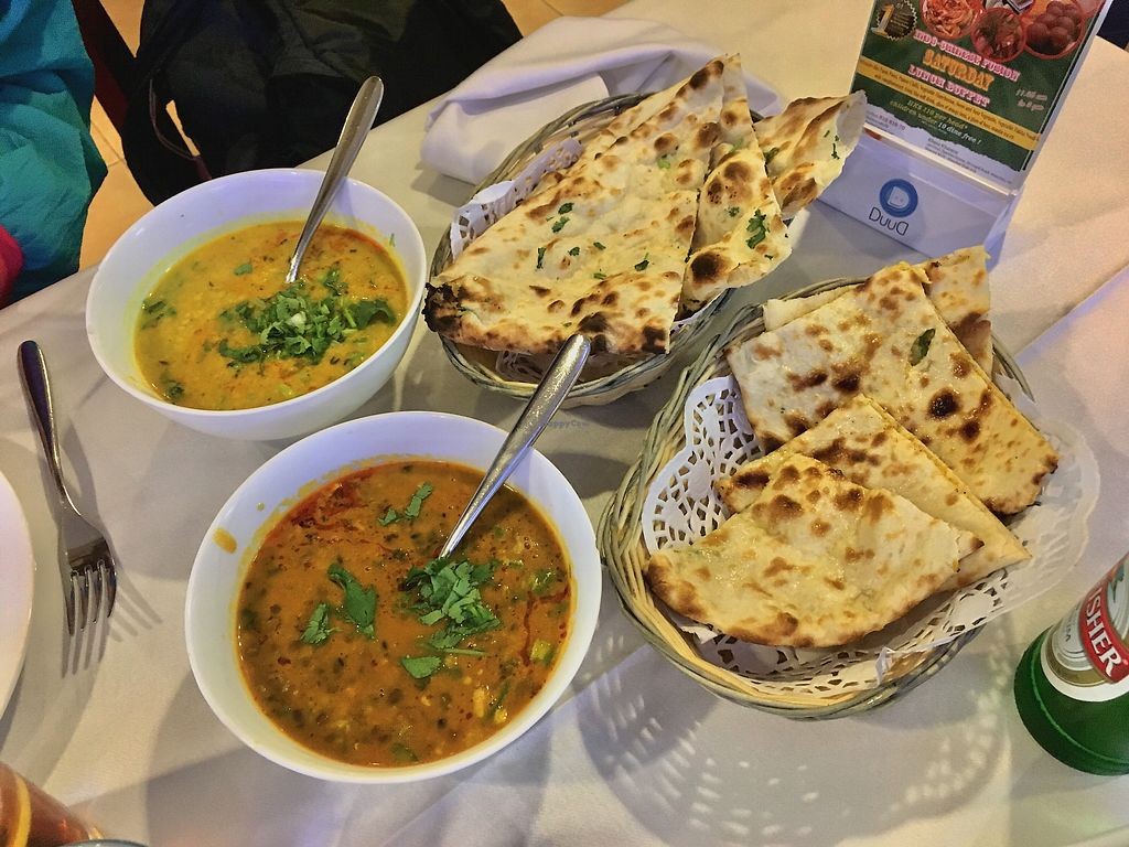 """Photo of Khana Khazana  by <a href=""""/members/profile/CamilaSilvaL"""">CamilaSilvaL</a> <br/>Lentils, garlic naan and cheese naan (not vegan) <br/> January 16, 2018  - <a href='/contact/abuse/image/11052/347195'>Report</a>"""