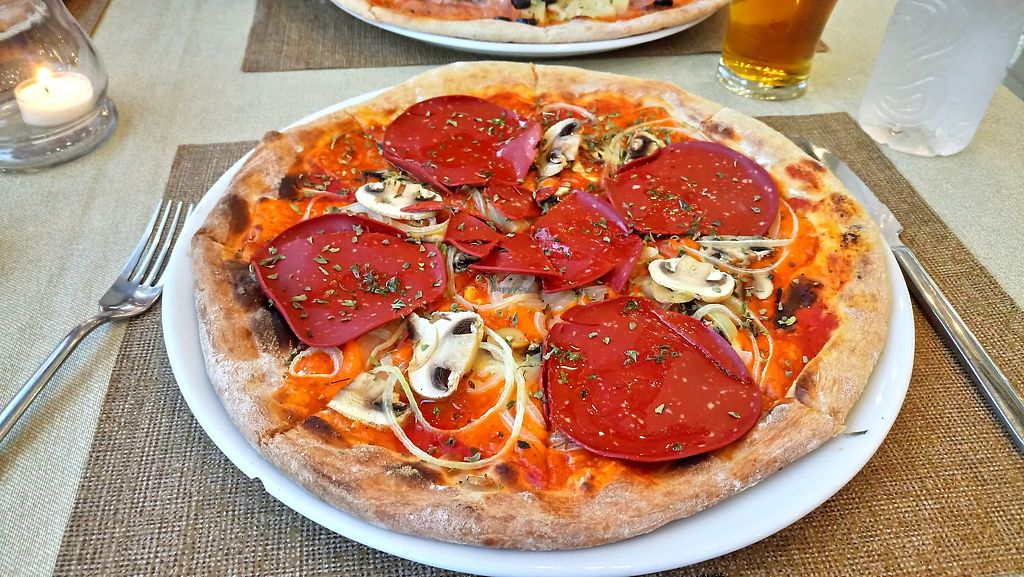 """Photo of Soma Bistro  by <a href=""""/members/profile/M.Ellis"""">M.Ellis</a> <br/>Vegan 'chorizo especial' pizza <br/> April 14, 2018  - <a href='/contact/abuse/image/110547/385848'>Report</a>"""