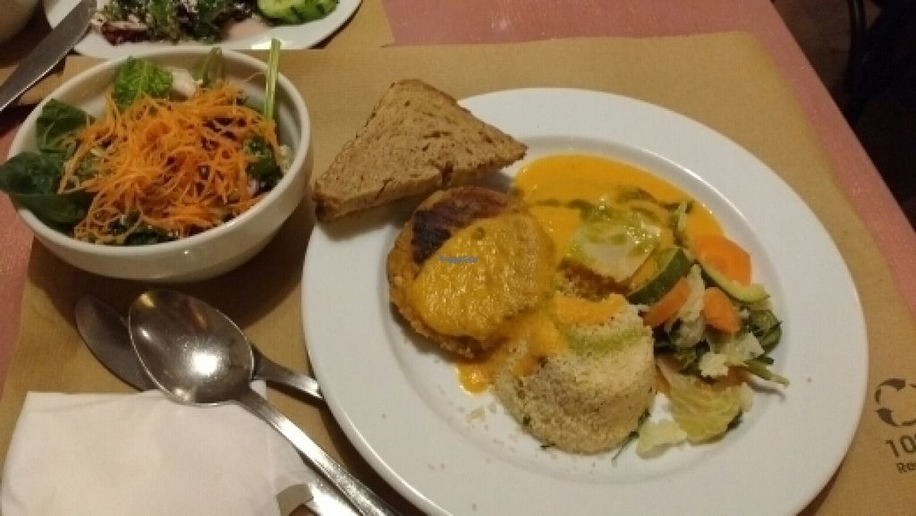 "Photo of Biocenter Restaurant Vegetaria  by <a href=""/members/profile/CynthiaterHorst"">CynthiaterHorst</a> <br/>Veggie bean burger with pumpkin sauce. The salad is from the buffet <br/> August 4, 2016  - <a href='/contact/abuse/image/1105/165258'>Report</a>"
