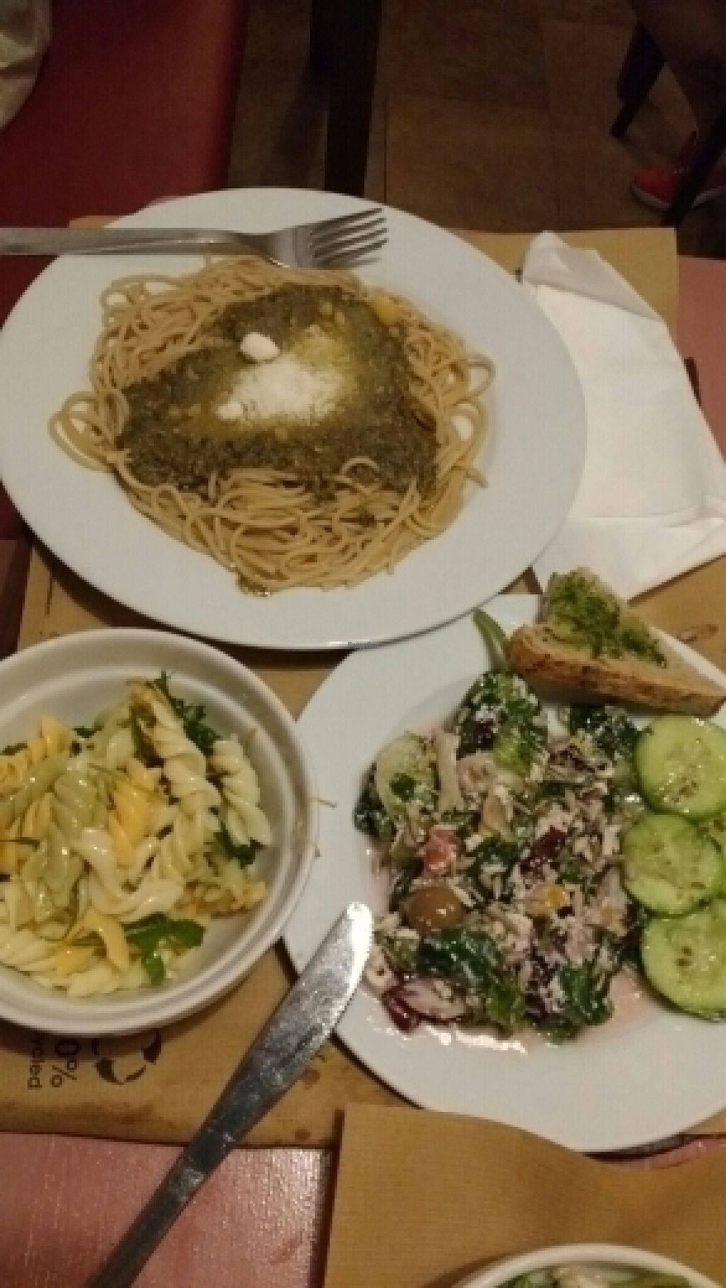 "Photo of Biocenter Restaurant Vegetaria  by <a href=""/members/profile/CynthiaterHorst"">CynthiaterHorst</a> <br/>Spaghetti with vegan parmesan and salad from the salad buffet bar <br/> August 4, 2016  - <a href='/contact/abuse/image/1105/165259'>Report</a>"