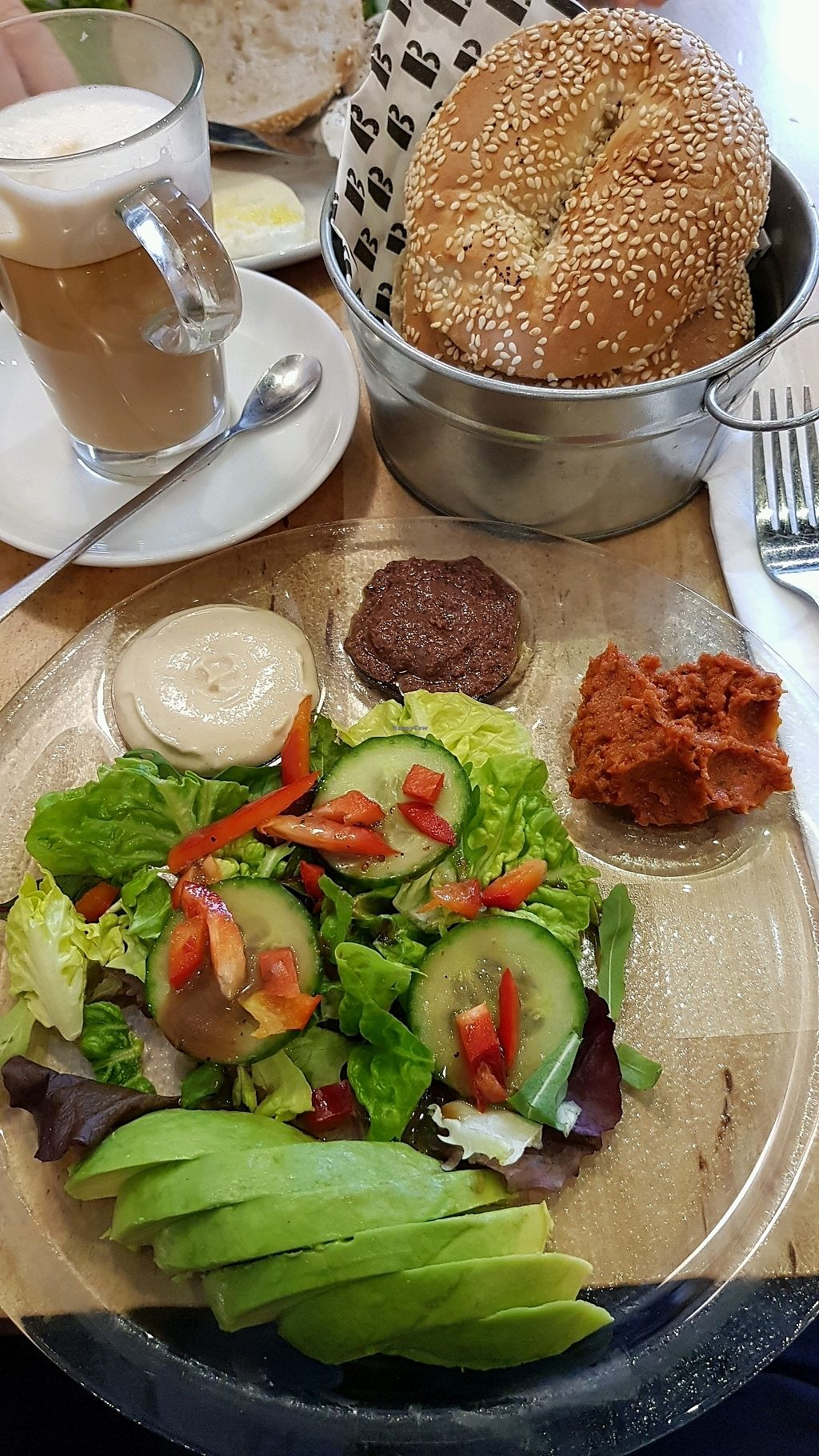 """Photo of B Bagel Bakery Bar  by <a href=""""/members/profile/jollypig"""">jollypig</a> <br/>Vegan breakfast, bagel & coffee <br/> March 4, 2018  - <a href='/contact/abuse/image/110632/366576'>Report</a>"""