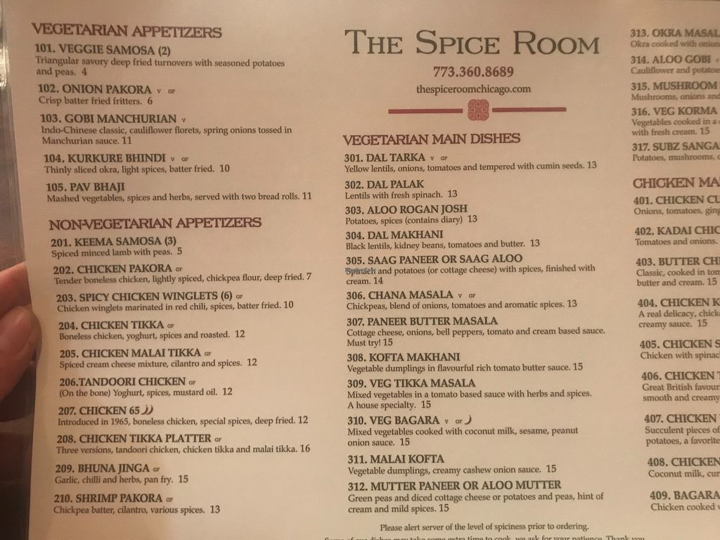 "Photo of The Spice Room  by <a href=""/members/profile/meowlison"">meowlison</a> <br/>Menu - January 2018 <br/> January 29, 2018  - <a href='/contact/abuse/image/110681/352456'>Report</a>"