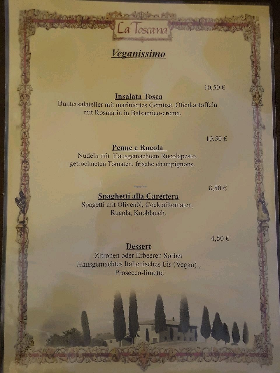 """Photo of La Toscana  by <a href=""""/members/profile/EnricoVegan"""">EnricoVegan</a> <br/>vegan menu (you have to ask for it) <br/> January 30, 2018  - <a href='/contact/abuse/image/110709/352765'>Report</a>"""