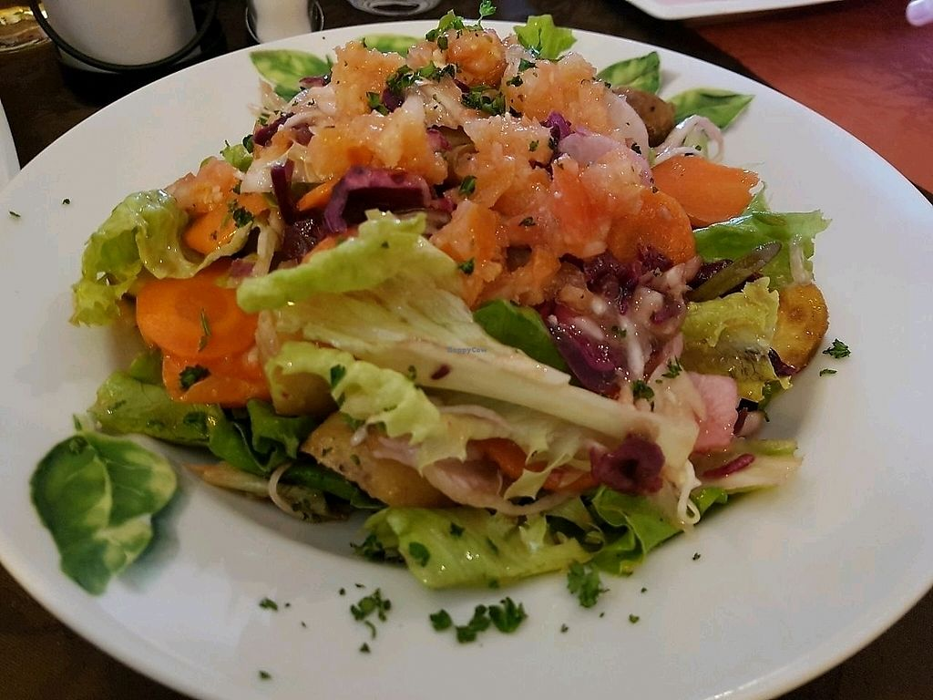 """Photo of La Toscana  by <a href=""""/members/profile/EnricoVegan"""">EnricoVegan</a> <br/>Insalata Tosca, with potatoes and mushrooms (big enough, you do not need a 2nd dish) <br/> January 30, 2018  - <a href='/contact/abuse/image/110709/352766'>Report</a>"""