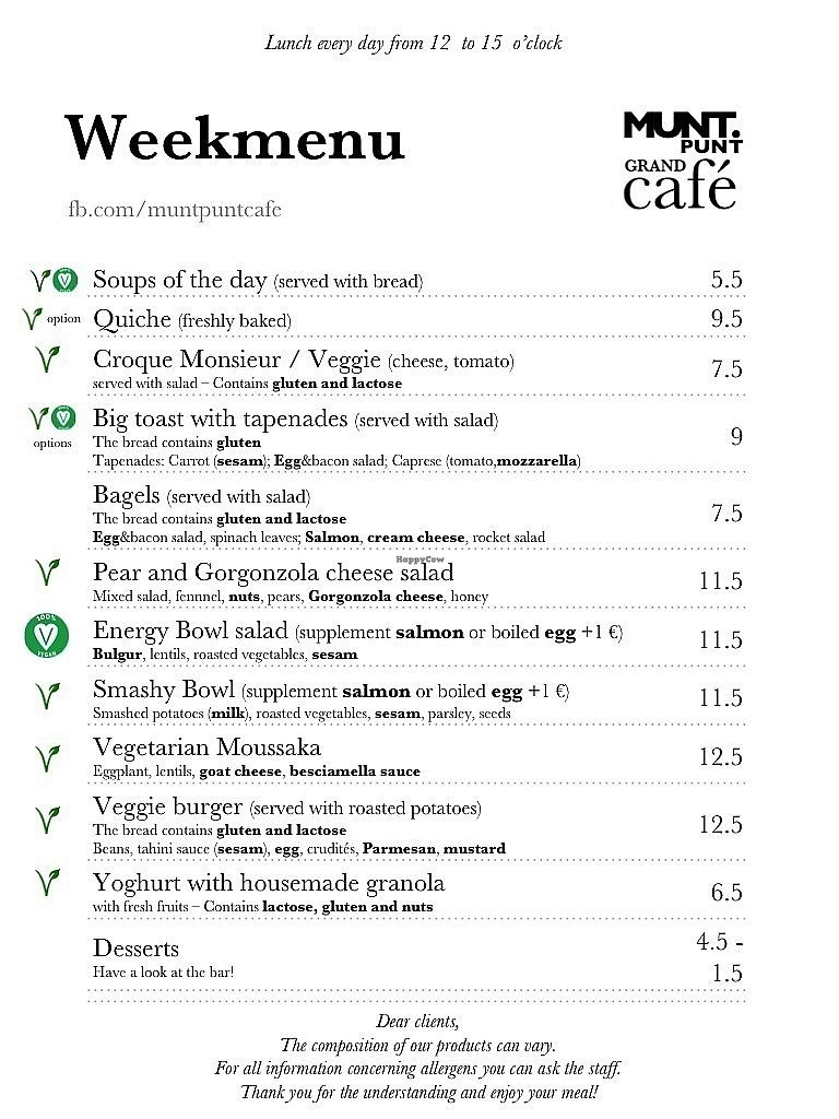"Photo of Muntpunt Grand Cafe  by <a href=""/members/profile/MuntpuntCaf%C3%A9"">MuntpuntCafé</a> <br/>Example of a week menu <br/> January 30, 2018  - <a href='/contact/abuse/image/110715/352712'>Report</a>"