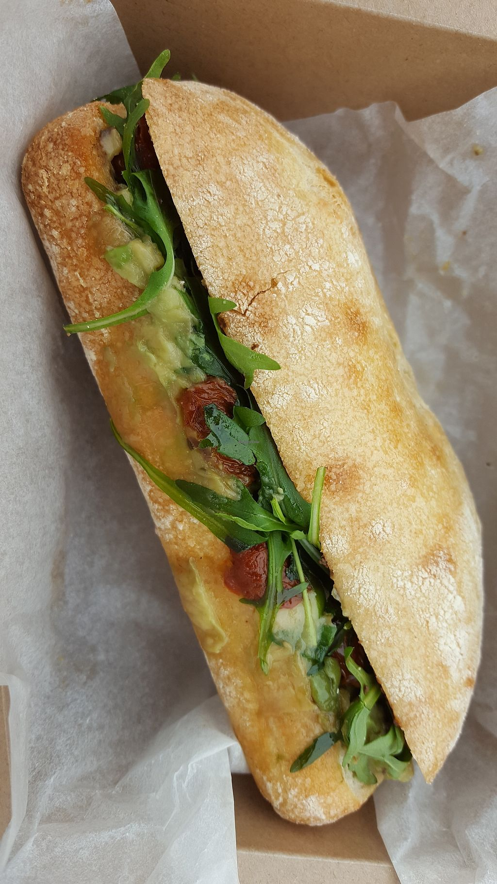 """Photo of Vesuvius Cafe  by <a href=""""/members/profile/VeganAnnaS"""">VeganAnnaS</a> <br/>Ciabatta with black olive pate, sun dried tomatoes and avocado <br/> April 15, 2018  - <a href='/contact/abuse/image/110754/386476'>Report</a>"""