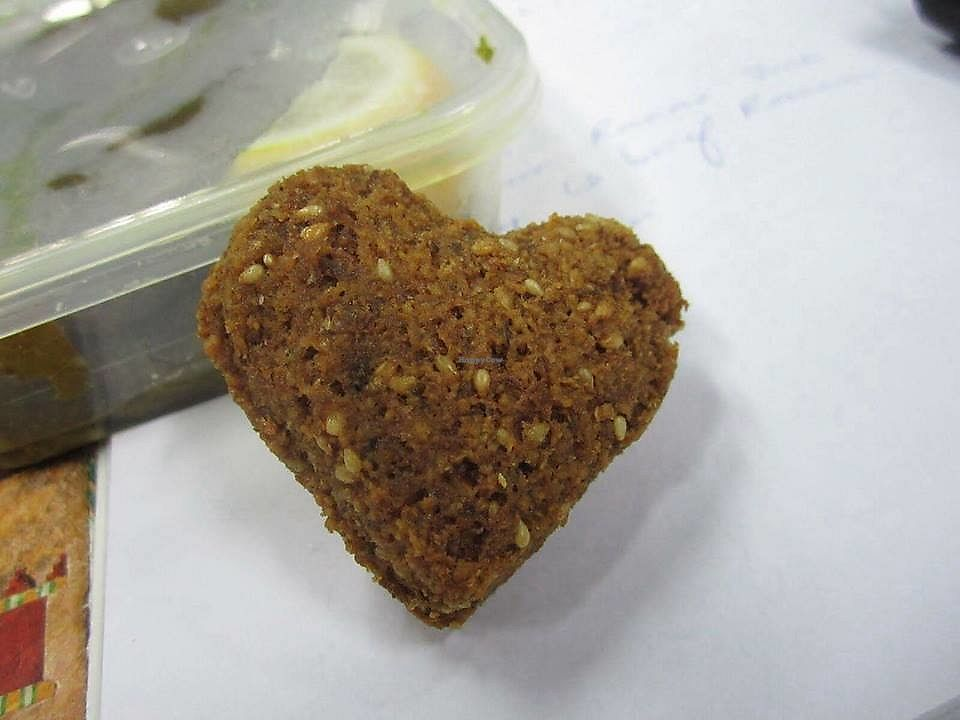 "Photo of Falafel Crunchy  by <a href=""/members/profile/JamesDaley"">JamesDaley</a> <br/>Heart shaped Falafel <br/> January 30, 2018  - <a href='/contact/abuse/image/110784/352831'>Report</a>"