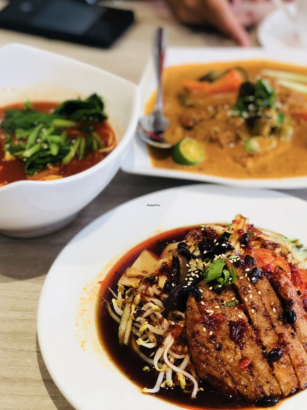"""Photo of O'bean Organic Soya Vegetarian Restaurant  by <a href=""""/members/profile/CherylQuincy"""">CherylQuincy</a> <br/>Pan fried chicken cold ramen, kimchi soup ramen, Indian Assam curry tempeh <br/> February 25, 2018  - <a href='/contact/abuse/image/110791/363682'>Report</a>"""